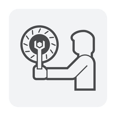 Technician checking car's disc brake icon design.