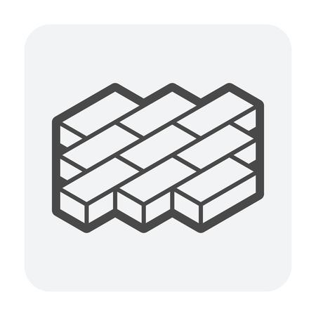 Icona di blocco pavimento o mattone finitrice, colore nero.