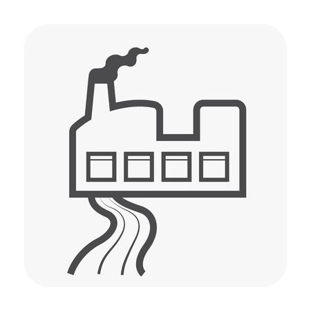 Icône des eaux usées et de l'usine, couleur noire.