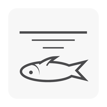 Waste water icon and dead fish. Illustration