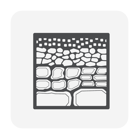 Soil testing and tool icon, black color.