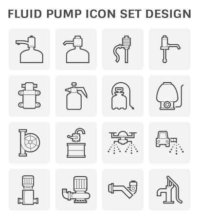 Drinking water pump and fluid pump icon set design.