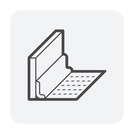 Vinyl floor construction icon on white. Stock Illustratie