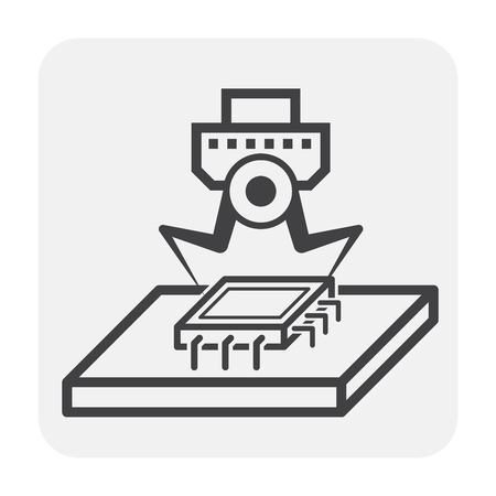 Robot hand and microchip icon. Çizim