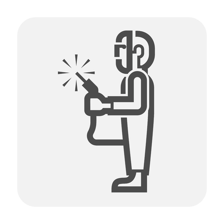 Welding work and tools icon.