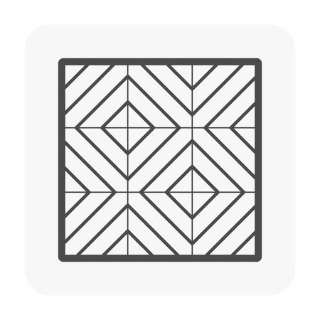 Modèle de plancher en bois et icône de matériau, couleur noire.