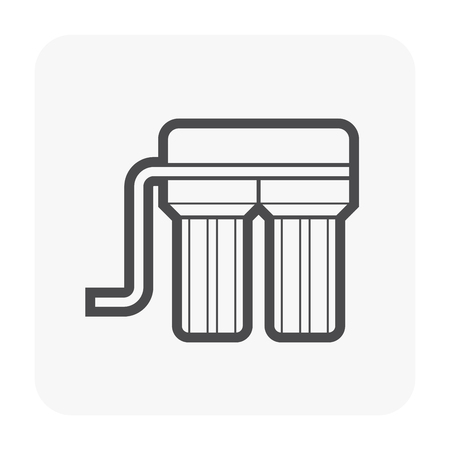 Water filter icon design, black color.