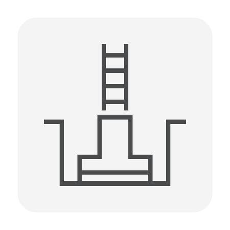 Foundation icon design, 64x64 perfect pixel and editable stroke. Illustration