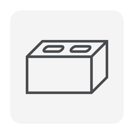 Concrete block icon design, 64x64 perfect pixel and editable stroke.