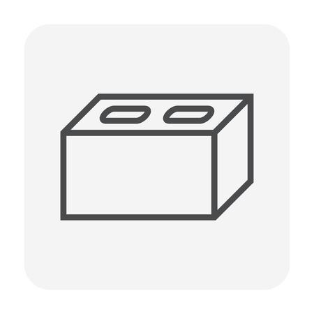 Concrete block icon design, 64x64 perfect pixel and editable stroke.