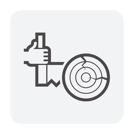 Diseño de icono de madera y aserradero, negro y contorno. Ilustración de vector