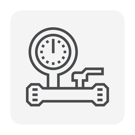 Pressure gauge and valve icon design, 64x64 perfect pixel and editable stroke.