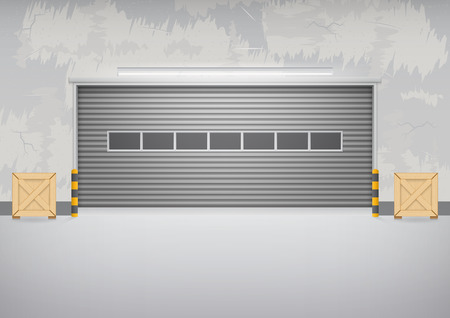 Roller shutter door and concrete floor outside factory building for industrial background.
