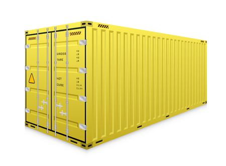 Vektor des Frachtbehälters oder des Versandbehälters für Logistik- und Transportarbeiten lokalisiert auf weißem Hintergrund.