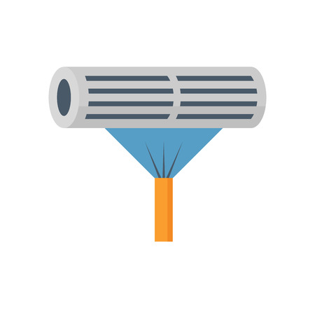 Air conditioner and cleaning work icon.