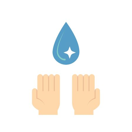 Clean water and hand icon design. Çizim