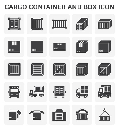 Cargo container and box icon set for shipping and transportation work design. Illustration