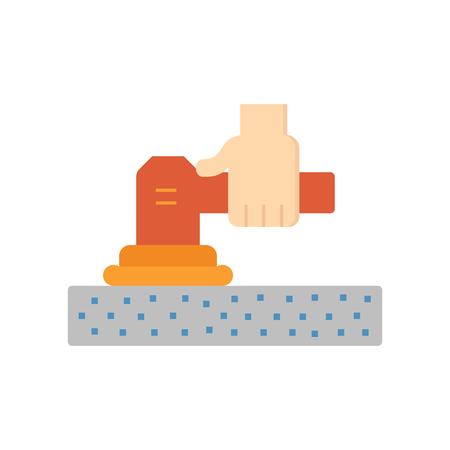 Bodenschleifen-Reparatur-Symbol auf weiß. Vektorgrafik