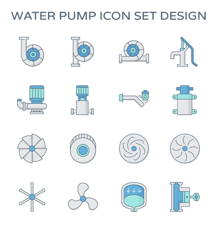 Agricultural water pump and part icon set design.