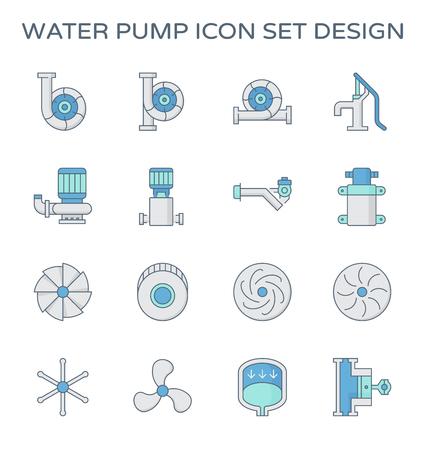Agricultural water pump and part icon set design. Reklamní fotografie - 124786766