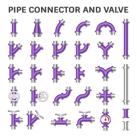 Vector icon of steel pipe connector and valve for plumbing work. Reklamní fotografie - 124786774