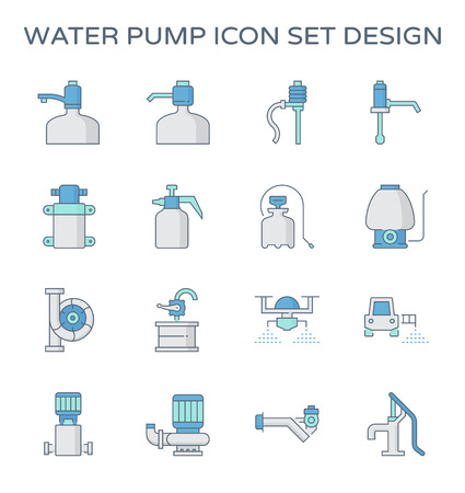 Drinking water pump and agricultural water pump icon set design.