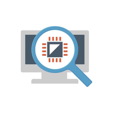 Computer testing icon design. Vetores