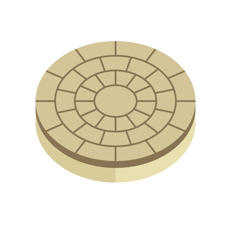 Concrete paver block brick floor icon for landscaping design. Illustration