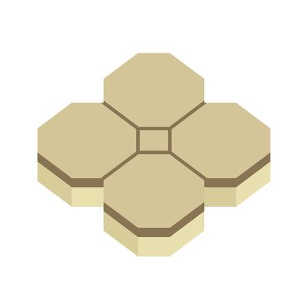 Concrete paver block brick floor icon for landscaping design.