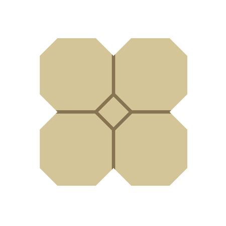 Concrete paver block brick floor icon for landscaping design. Vector Illustratie