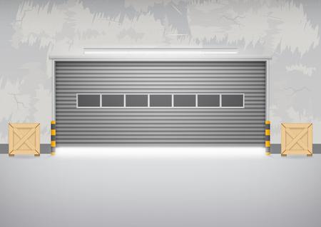 Porte de volet roulant et sol en béton à l'extérieur du bâtiment de l'usine pour fond industriel.