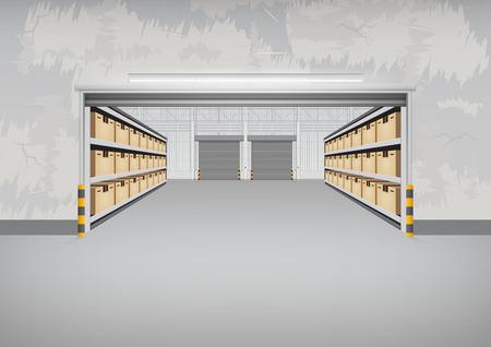 Vecteur de bâtiment d'usine ou de bâtiment d'entrepôt avec sol en béton pour le fond de l'industrie.