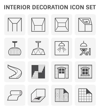 Ceiling and interior decoration icon set design.