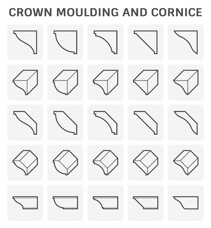 Crown moulding and cornice icon set design. Illustration