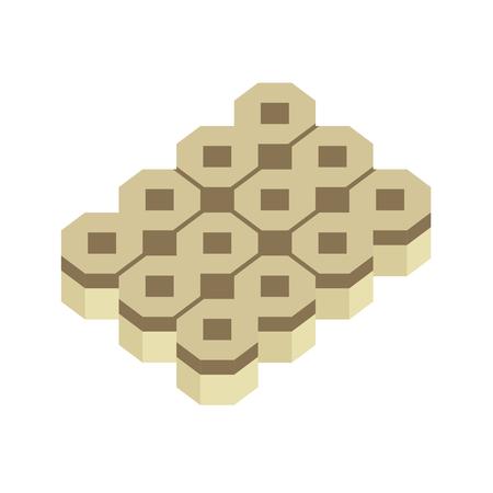 Concrete paver block brick floor icon for landscaping design. Illustration