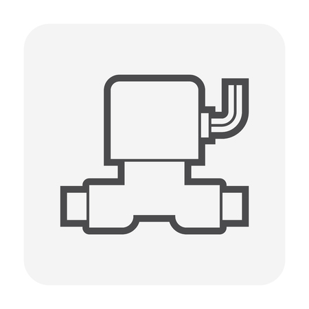 Solenoid for water flow control icon design. Illustration