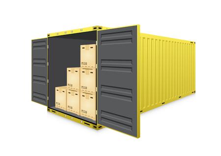 Vettore di container o container di spedizione e scatola di cartone del prodotto per lavori logistici e di trasporto isolati su sfondo bianco.
