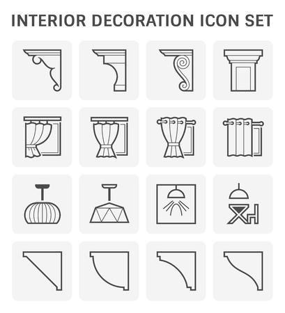 Interior and decoration material icon set design. Illustration