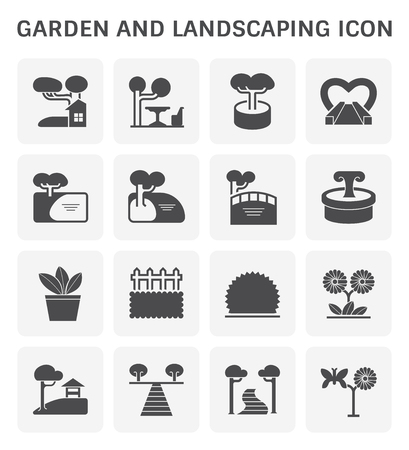 Garden and landscaping icon set design.