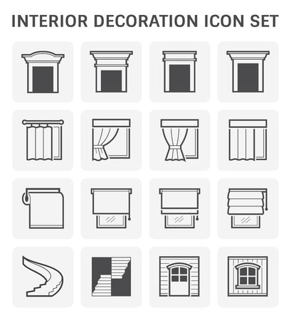 Interior and decoration material icon set design. Illustration