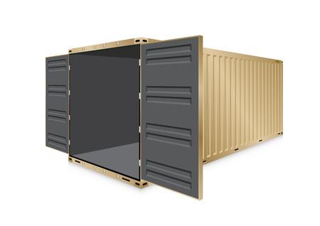 Vettore di container o container di spedizione per lavori di logistica e trasporto isolati su sfondo bianco. Vettoriali