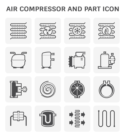 Air compressor and part icon set design. Illusztráció