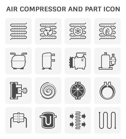 Air compressor and part icon set design. Illustration