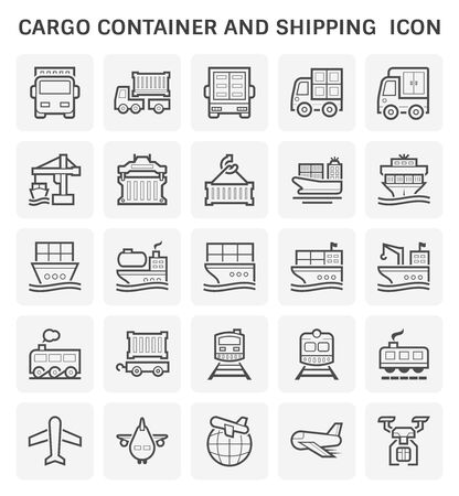 Cargo container and shipping transportation icon set design.
