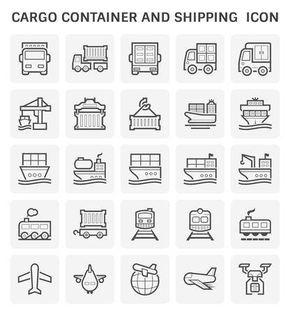 Contenedor de carga y diseño de conjunto de iconos de transporte de envío.