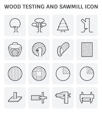 Wood timber testing and wood sawmill icon set design. 일러스트