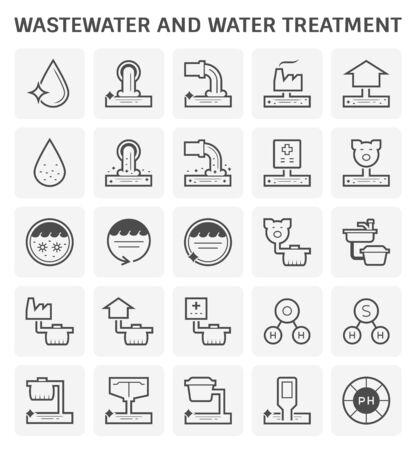 Diseño de conjunto de iconos de tratamiento de aguas y aguas residuales para el diseño industrial de tratamiento de agua.