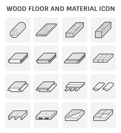 Wood floor and material for interior decoration icon set design. Иллюстрация