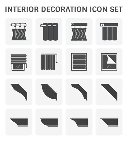 Interior and decoration material icon set design.