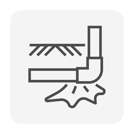 Burst pipe and water leak icon, 64x64 perfect pixel and editable stroke.